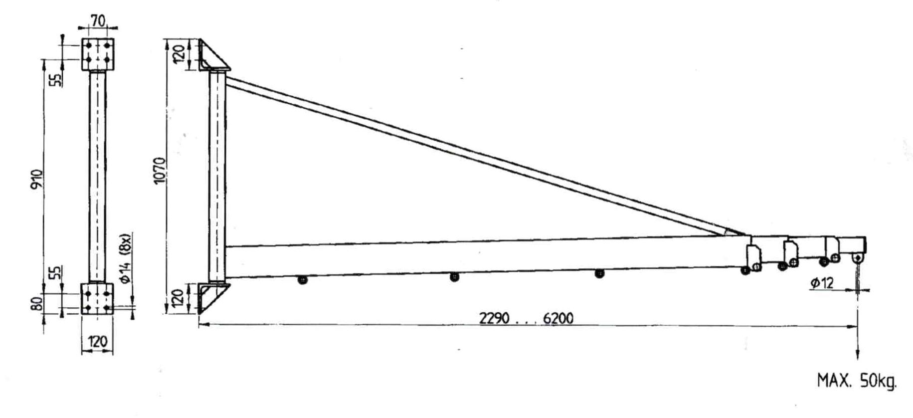 afmetingen telescopische zwenkarm